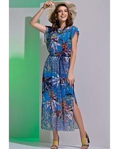 Длинное легкое платье синего цвета TopDesign A4 095