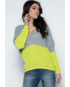 Женский двухцветный свитер Fobya F490