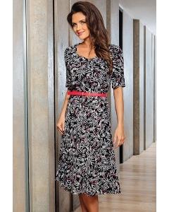 Летнее женское платье с красным поясом TopDesign A7 004