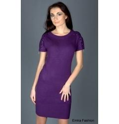 Короткое фиолетовое платье Yiky Fashion