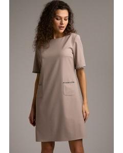 Короткое прямое платье c каймой из страз Emka PL853/faint