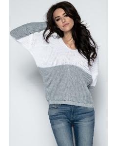 Женский двухцветный свитер с V-вырезом Fobya F490