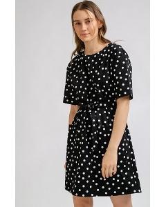 Черное платье в белый горох Emka PL861/trooko
