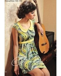 Летнее платье с желтым воротником