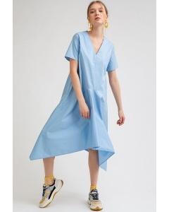 Платье голубого цвета А-силуэта Emka PL955/morris