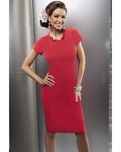Малиновое платье с коротким рукавом | 15012
