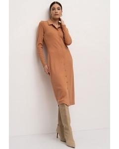 Трикотажное платье терракотового цвета Emka PL1236/gakara
