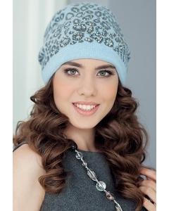 Женская шапка Landre Саванна (голубой/серый)