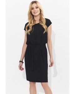 Чёрное летнее платье без рукавов с поясом Zaps Tina
