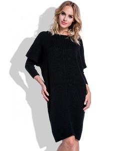 Тёплое платье чёрного цвета Fimfi I192