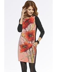 Платье с принтом Красные маки Enny 220045