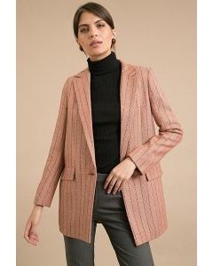 Пальто кораллового цвета в полоску Emka R056/mirtle