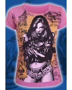 "Малиновая женская футболка ""Burn girl"""