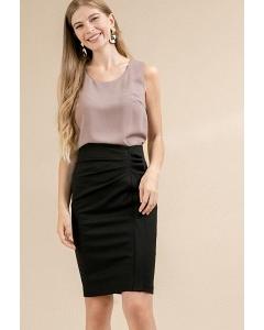 Черная юбка с драпировкой Emka S841/almaza