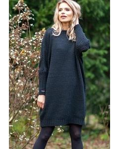 Чёрное шерстяное платье Fobya F597