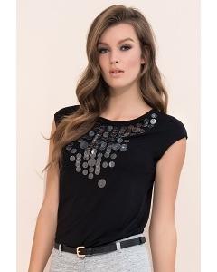 Чёрная летняя блузка из трикотажа Zaps Fabia