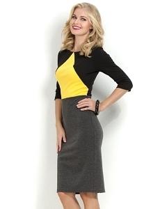 Серо-жёлтое платье Donna Saggia DSP-177-72t
