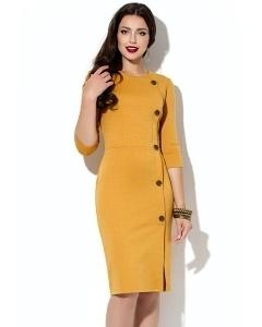 Платье-футляр горчичного цвета Donna Saggia DSP-192-5t