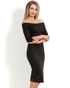 Чёрное платье с открытыми плечами Donna Saggia DSP-48-4t