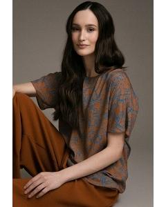 Свободная блуза с фантазийным принтом Emka B2462/leaf