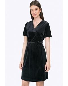 Короткое чёрное платье-халат с запахом Emka PL822/genre