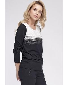 Чёрно-белая трикотажная юбка Sunwear O19-5-57