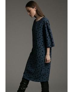 Лёгкое прямое платье в горох Emka PL1042/pasta