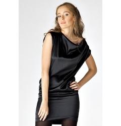 Черное атласное платье