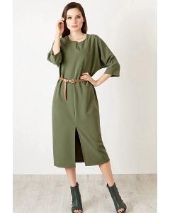 Зелёное трикотажное платье TopDesign B20 008