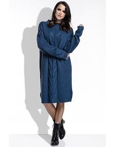 Тёмно-сине вязанное платье оверсайз Fimfi I215