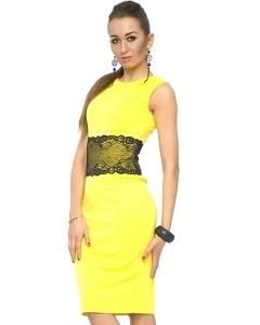 Желтое платье-футляр Donna Saggia   DSP-86-54t
