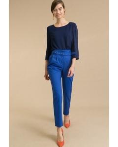 Зауженные синие брюки с поясом D156/paniano