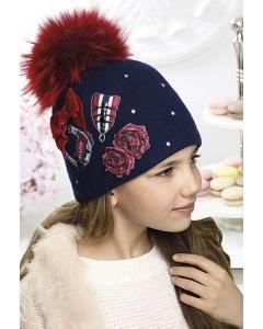Тёмно-синяя шапка для девочек с красным помпоном Willi Lori
