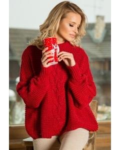 Красный свитер oversize Fobya F612