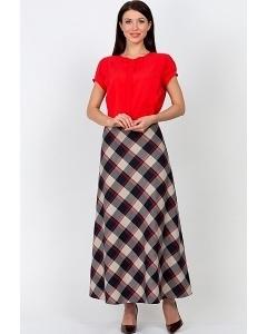 Длинная юбка в клетку Emka Fashion 314-agniya