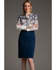 Тёмно-синяя юбка на широкой кокетке Emka S202-60/glass