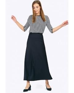 Длинная в пол юбка тёмно-синего цвета Emka S314/shelbi