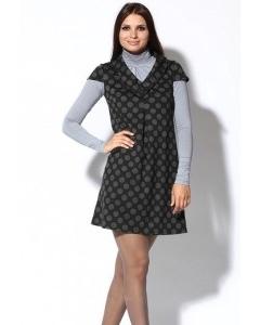 Короткое платье в серый горох