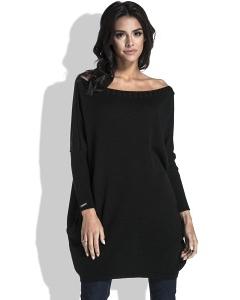 Удлиненный свитер с карманами чёрного цвета Fobya F444