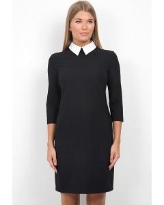 Чёрное платье с белым воротнич-ком Emka Fashion PL-440/miralda