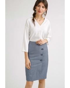 Синяя юбка в мелкий геометрический узор Emka S812/bernas