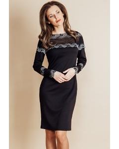 Платье черного цвета с кружевными вставками TopDesign B6 038