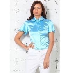 Голубая атласная блузка Remix