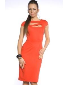 Платье-футляр модного оранжевого цвета   DSP-70-40