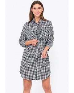 Платье-рубашка в клеточку с кулисой Emka PL-611/ballade
