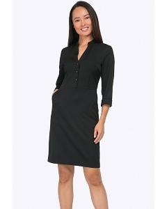 Строгое офисное платье чёрного цвета Emka PL794/djolin