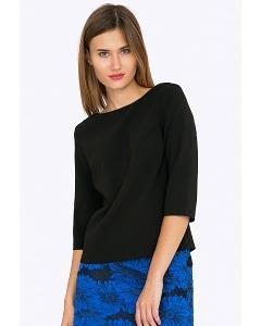 Чёрная блузка с V-образным вырезом на спине Emka B2281/premiera