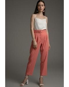 Прямые укороченные брюки кораллового цвета Emka D168/ofelia