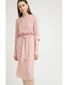 Платье-миди розового цвета в полоску Emka PL869/grave