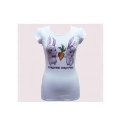 Купить белую футболку с кроликами